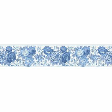 Blue Toile Floral Scroll Border