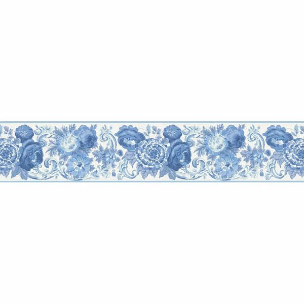 451 1689 Blue Toile Floral Scroll Brewster Wallpaper Borders