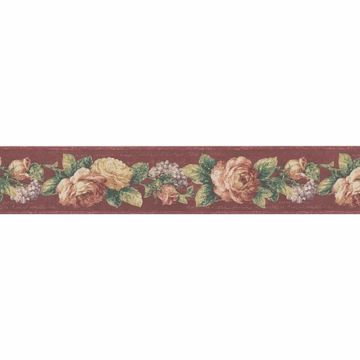 Dark Red Vintaged Floral Trail Border