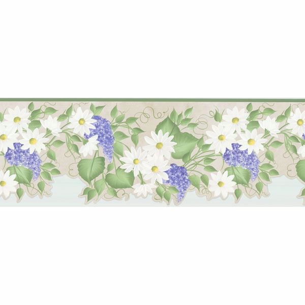 Green Floral Trail Border