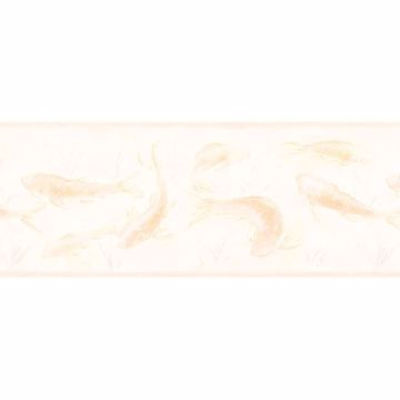 Peach Coy Fish Motif Border
