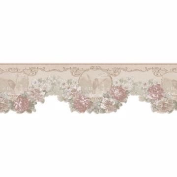 Green Bird Cameo Floral Swag  Border