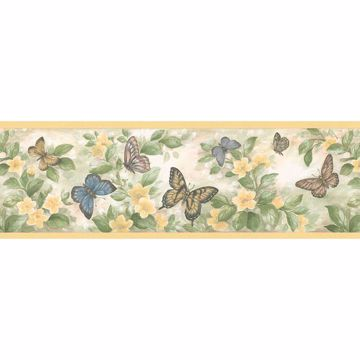 Yellow Butterfly Floral Border Border