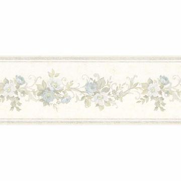 Light Blue Scroll Floral Border