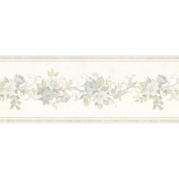 Light Blue Scroll Floral Border