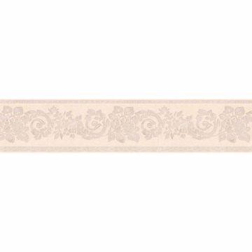 Light Grey Floral Scroll Silhouette Border