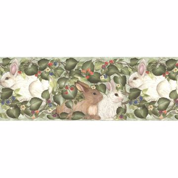 Multicolor Rabbits And Berries Border
