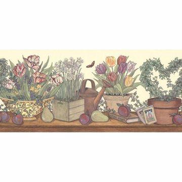 Multicolor Flower Box Shelf Border