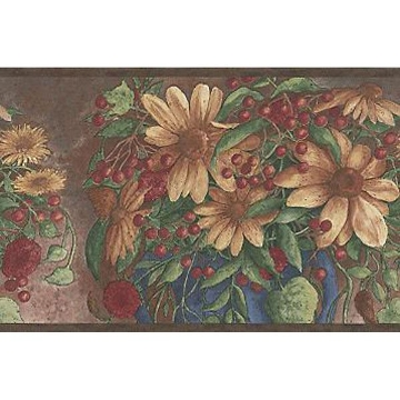 Multicolor Berry And Sunflower Motif Border