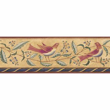 Beige Folk Art Floral And Bird Border