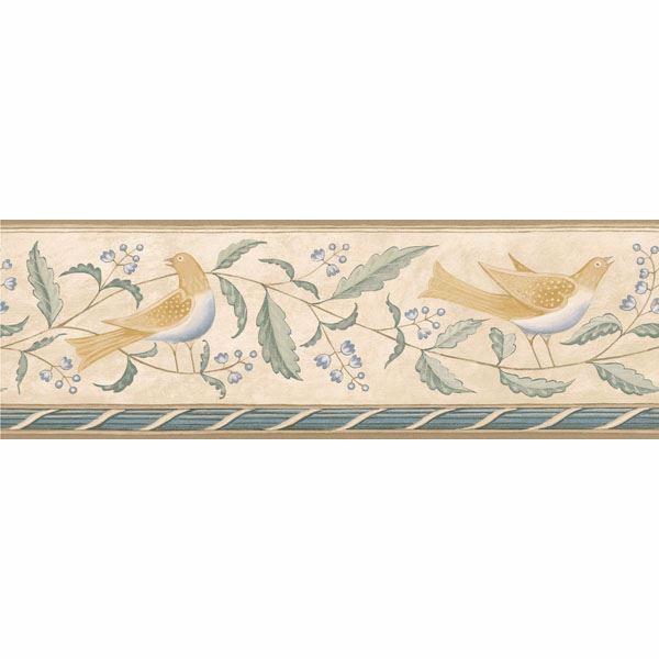 Cream Folk Art Floral And Bird Border