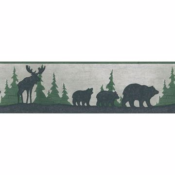 Black Moose Forest Silhouette Border