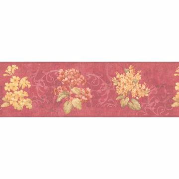 Red Floral Script And Scroll Border