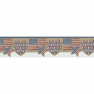 Multicolor American Flag Shapes Border