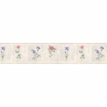 Off-White Cameo Flowers Border