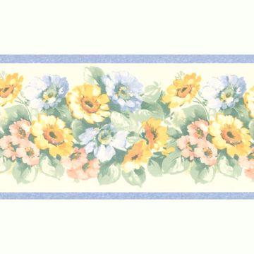 Light Blue Window Box Floral Border