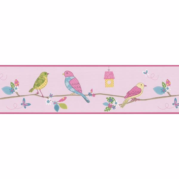 Pink Bird Branch Border