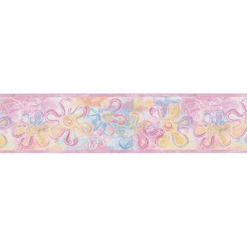 Pink Flower Stamps Border