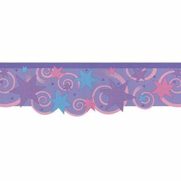 Purple Swirls And Stars Border