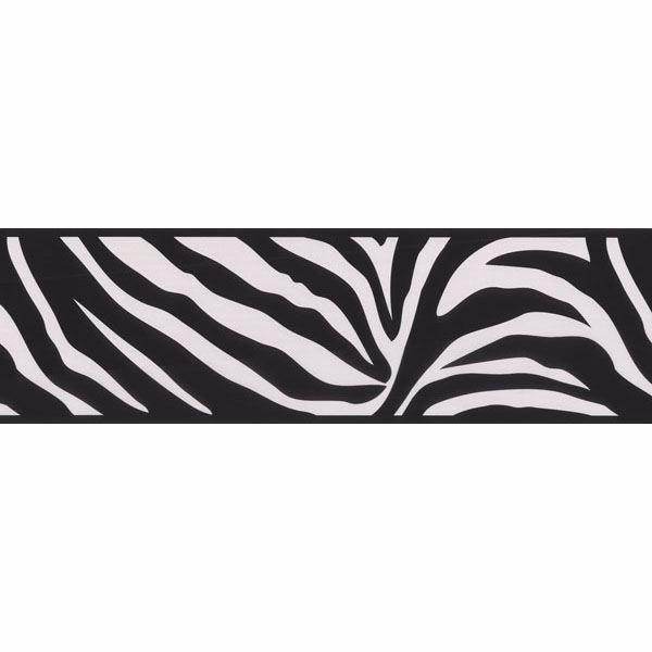 . Black Zebra Print   Brewster Wallpaper Borders   451 1857
