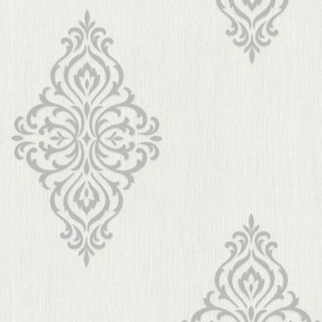 Powell Light Grey Damask Medallion