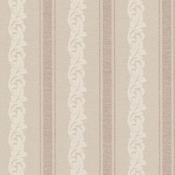 Rennie Stripe Beige Scrolling Stripe