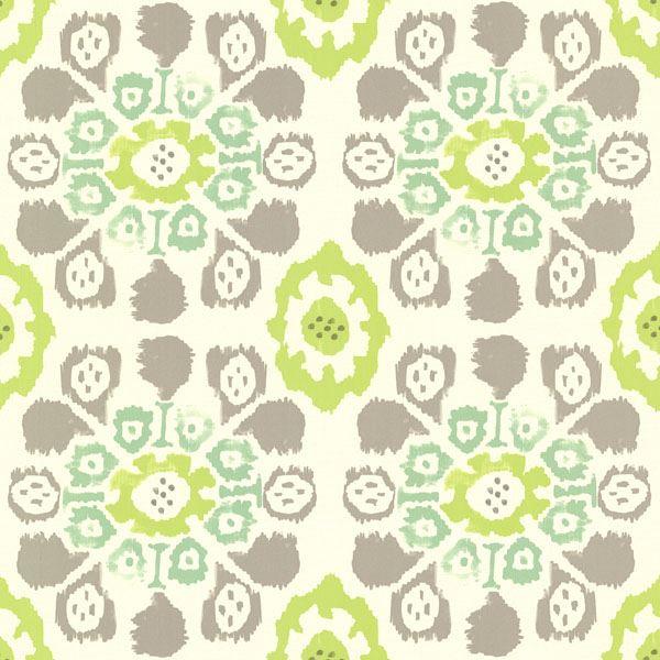 330238 Green Ikat Floral Valencia Eijffinger Wallpaper