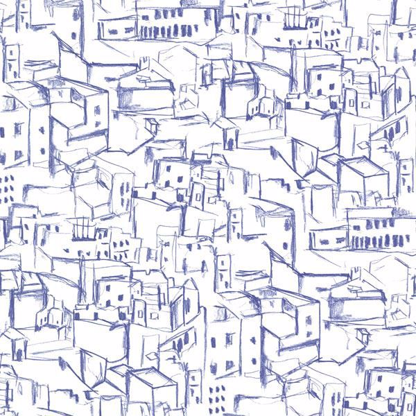 Kasabian Blue Hillside Village Sketch