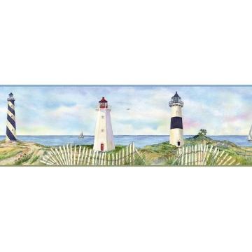 Eugene Light Blue Coastal Lighthouse Portrait Border