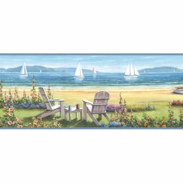 Regatta Blue Seaside Cottage Portrait Border