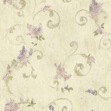 Emma Grey Lilac Acanthus Scroll