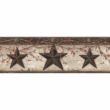 Graham Cream Rustic Star Trail Border