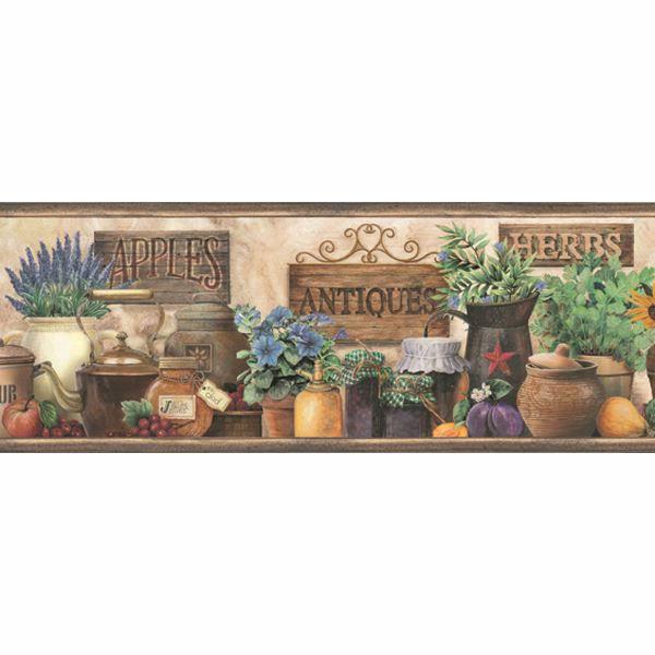 Marche Green Antique Herbs Portrait Border