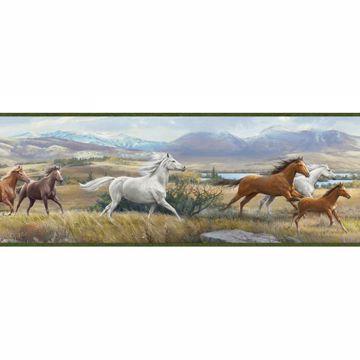 Sally Blue Wild Horses Portrait Border