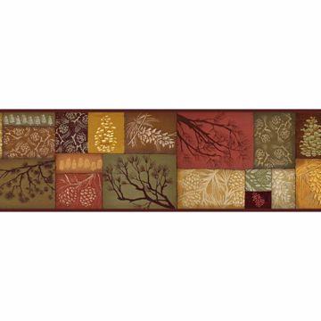 Monde Red Pinecone Branch Collage Border