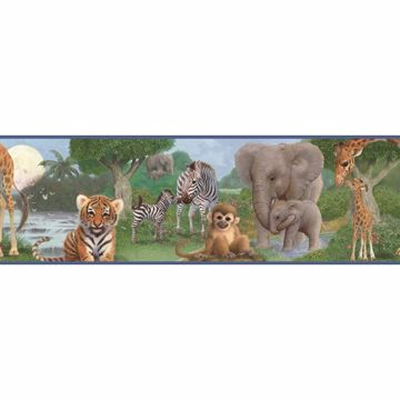 Afrique Blue Jungle Bedtime Portrait Border