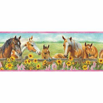 Harmony Pink Horses Sunflowers Portrait Border