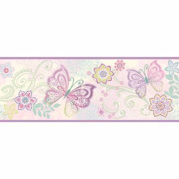 Fantasia Purple Boho Butterflies Scroll Border