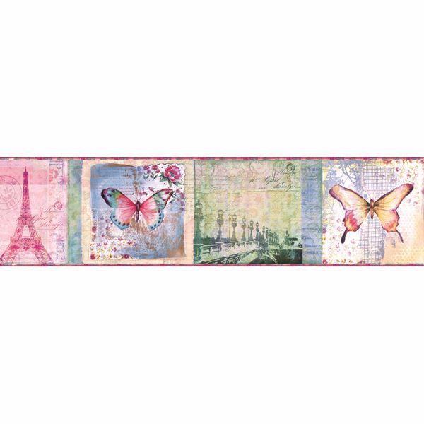 Worldly Pink Bon Voyage Butterflies Border