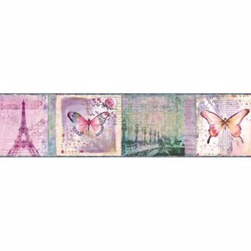 Worldly Purple Bon Voyage Butterflies Border