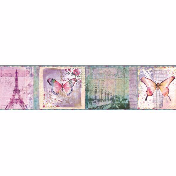 Worldly Purple Bon Voyage Butterflies Border