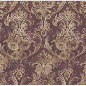 Elsa Blackberry Ornate Damask
