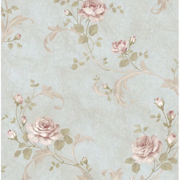 Gracie Blue Floral Scroll