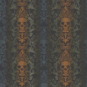 Luther Orange Skull Modern Damask