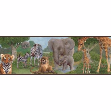 Afrique Green Jungle Bedtime Portrait Border