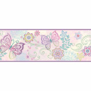 Fantasya Purple Boho Butterflies Scroll Border