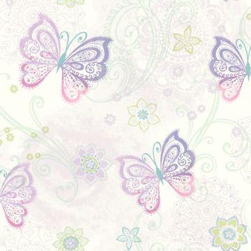Fantasia Purple Boho Butterflies Scroll