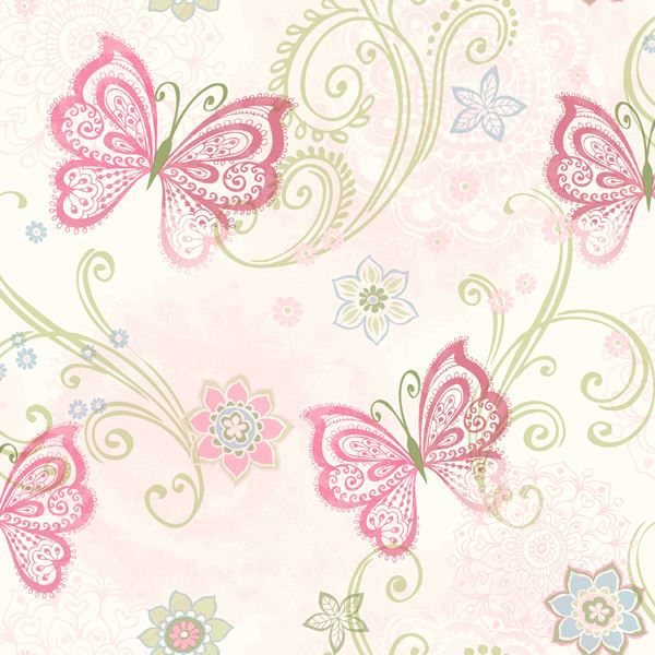 Fantasia Pink Boho Butterflies Scroll