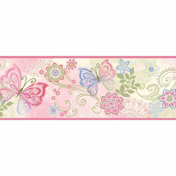 Fantasya Pink Boho Butterflies Scroll Border