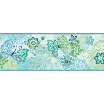 Fantasya Blue Boho Butterflies Scroll Border